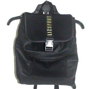 Liz Sport Black Large Backpack Faux Leather Bag
